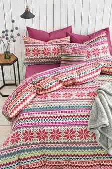 Brushed Cotton Fairisle Pattern Bed Set