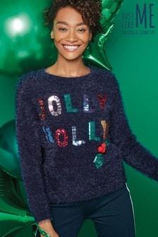Womens Jolly Holly Christmas Jumper
