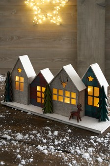 Lit Houses Scene Decoration