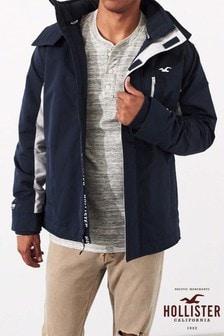 Hollister Navy Flock Logo Jacket