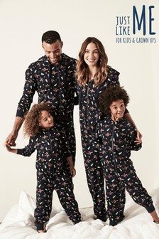 Womens Moose Print Christmas All-In-One