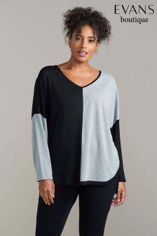 Evans Black And Grey Colourblock Top