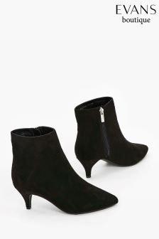Evans Black Extra Wide Fit Kitten Heel Ankle Boot