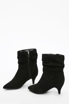 Evans Black Extra Wide Fit Ruched Kitten Heel Ankle Boot