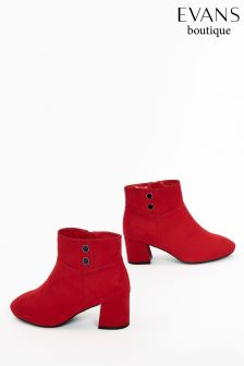 Evans Red Extra Wide Fit Button Detail Ankle Boot
