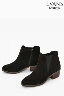 Evans Black Extra Wide Fit Low Elastic Ankle Boot
