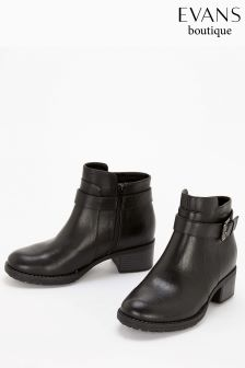 Evans Black Extra Wide Fit Buckle Strap Ankle Boot