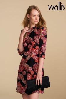 Wallis Petite Black/Red Paisley Swing Dress