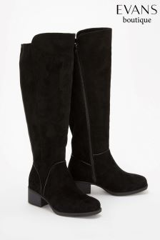 Evans Black Extra Wide Fit Over The Knee Boot