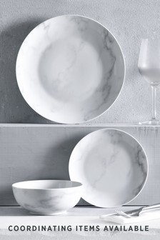 12 Piece Marble Effect Dinner Set